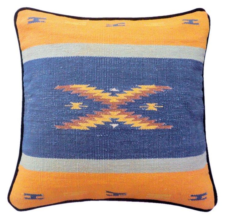 Kilim 22x22 Cotton-Blend Pillow, Orange