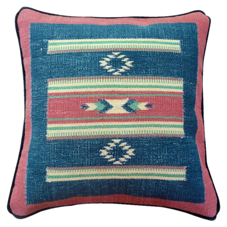 Kilim 22x22 Cotton-Blend Pillow, Navy