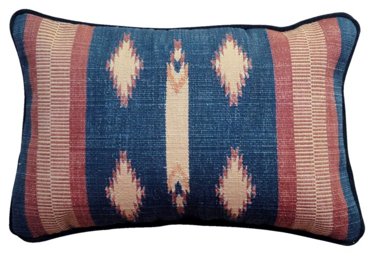 Kilim 14x24 Cotton-Blend Pillow, Blue