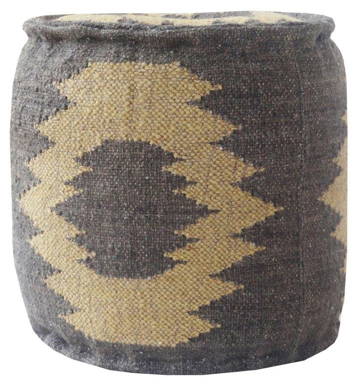 Kilim Round Pouf, Gray/Khaki