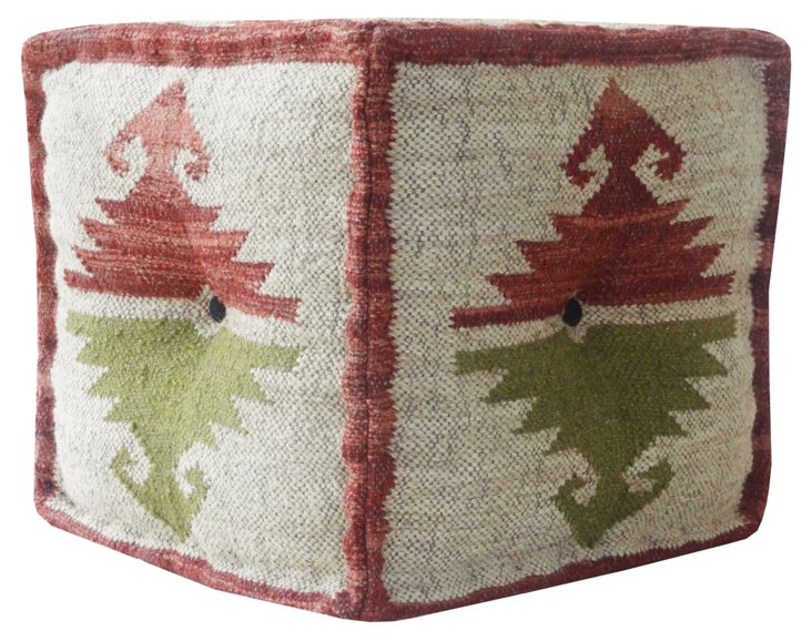 Kilim Square Pouf, Cream/Red/Green