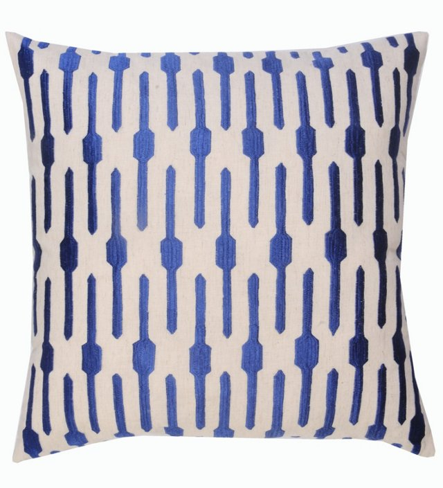 Jai 20x20 Embroidered Pillow, Blue