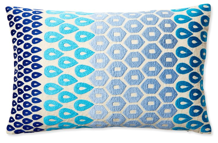 Megha 14x24 Embroidered Pillow, Multi