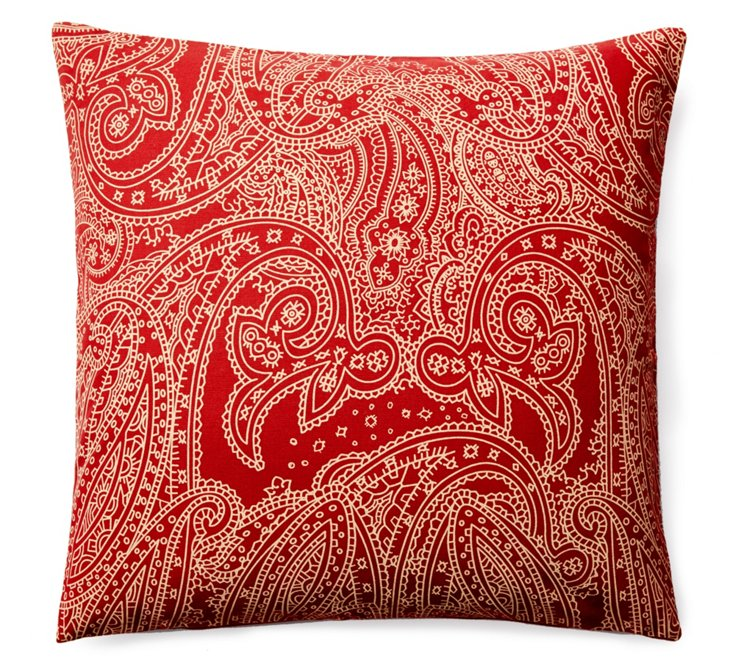 Suraj 20x20 Cotton Pillow, Red