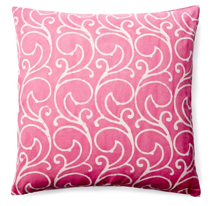 Mela 20x20 Cotton Pillow, Pink