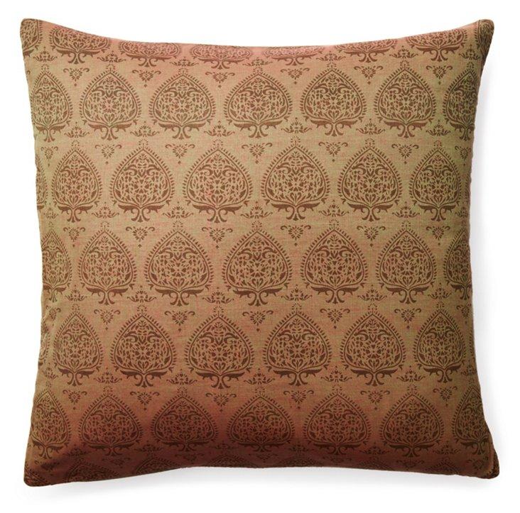 Pallavi 20x20 Cotton Pillow, Taupe