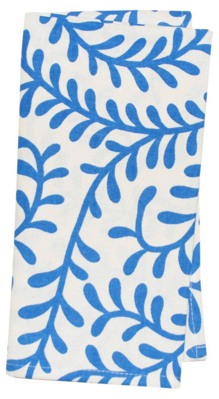 S/4 Printed Swirl Napkins, Blue