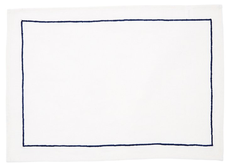 S/4 Border Place Mats, Navy