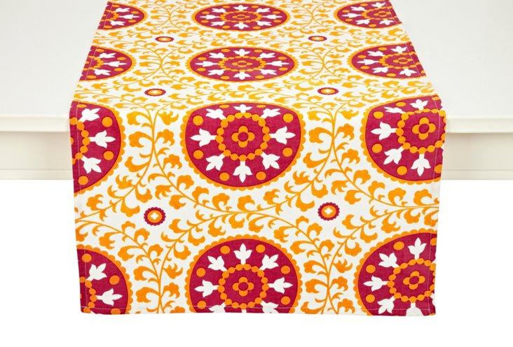 Suzani Table Runner, Orange