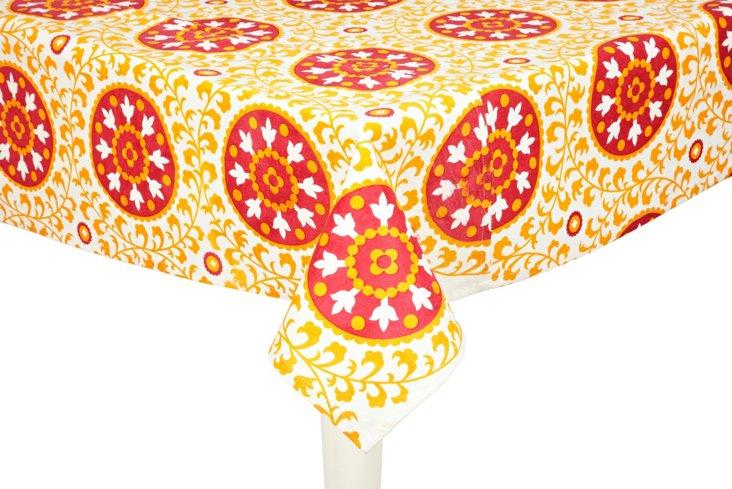 Suzani Tablecloth, Orange