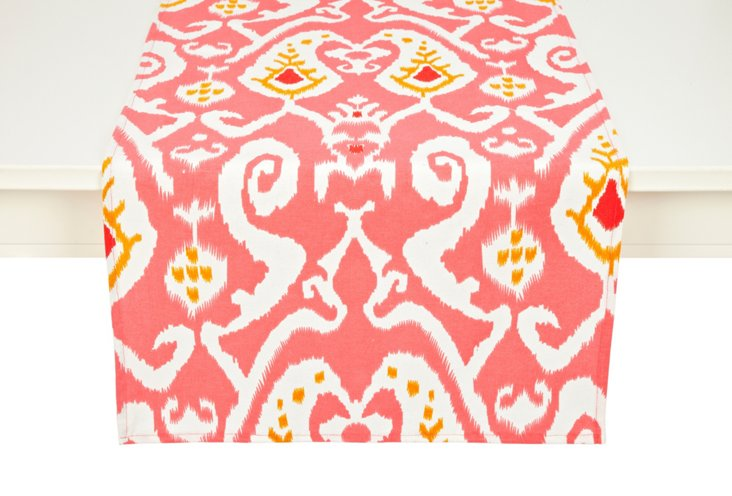 Ikat Table Runner, Coral