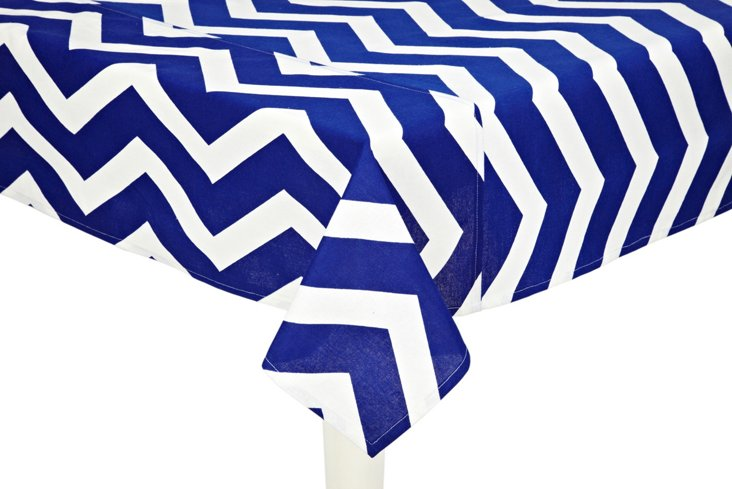 Eddie Chevron Tablecloth, Navy
