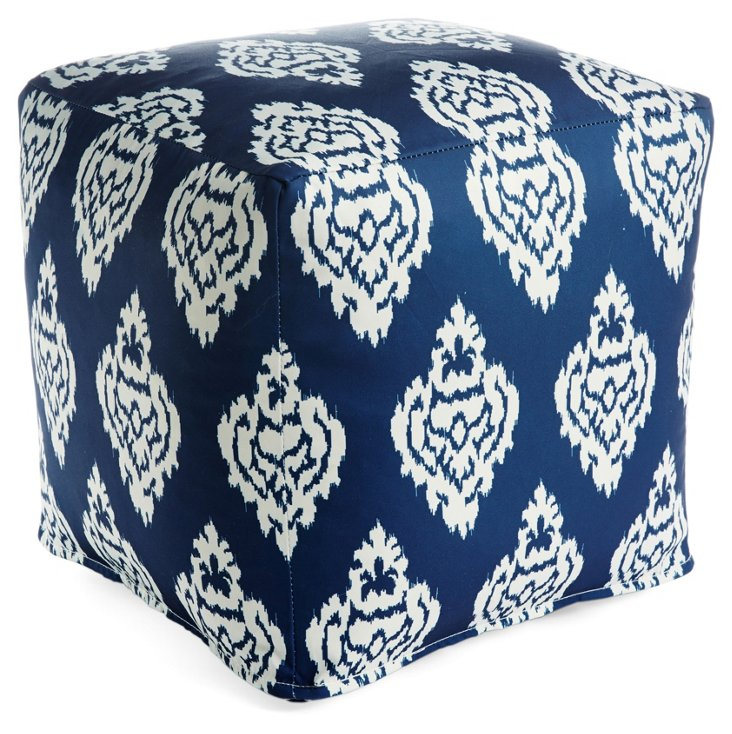 Damask Outdoor Pouf, Navy/White