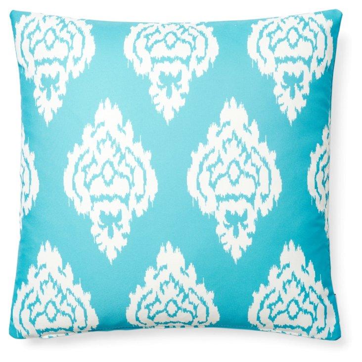 Damask 20x20 Outdoor Pillow, Aqua