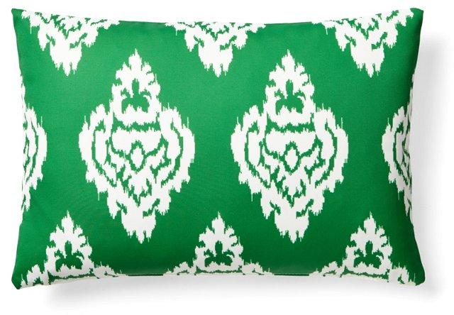 Damask 14x20 Outdoor Pillow, Green