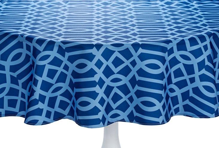 Geometric Trellis Round Tablecloth, Navy