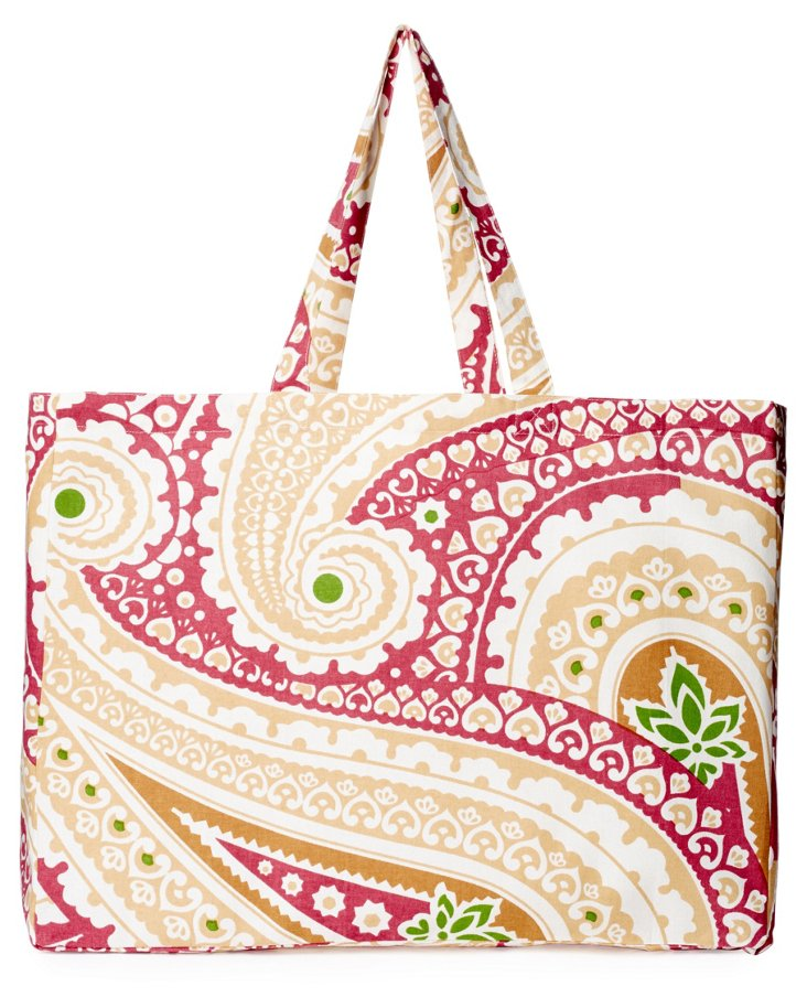 Paisley Cotton Market Tote, Red