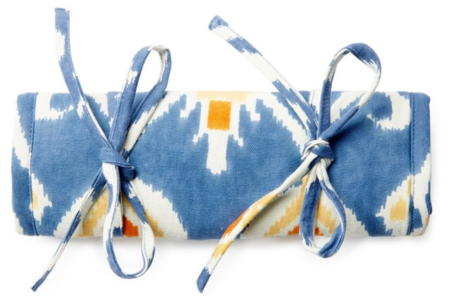 Ikat Cotton Jewelry Roll, Blue