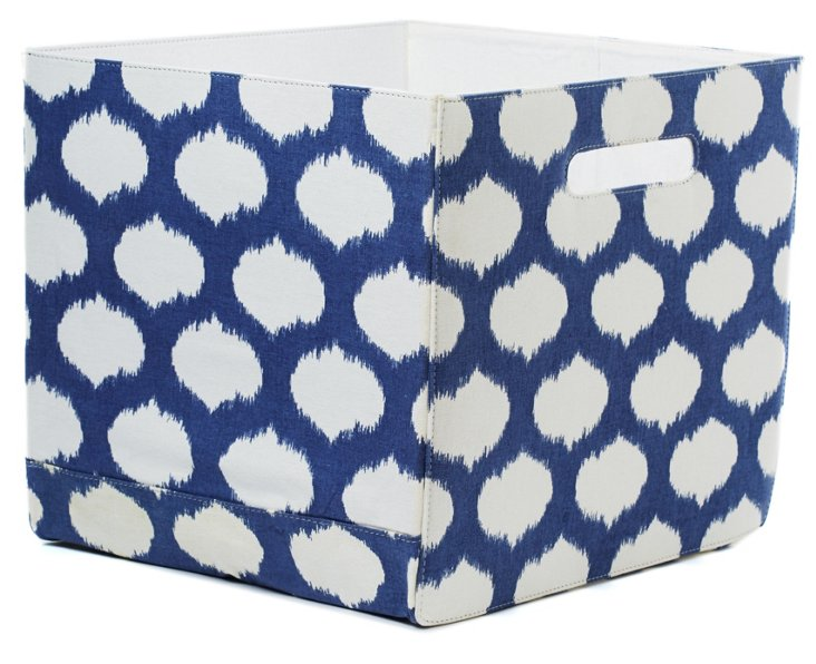 "14"" x 12"" Hamper, Blue Ikat Circles"