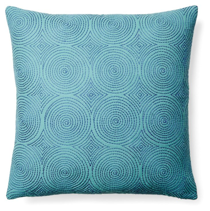 Monica 20x20 Embroidered Pillow, Teal