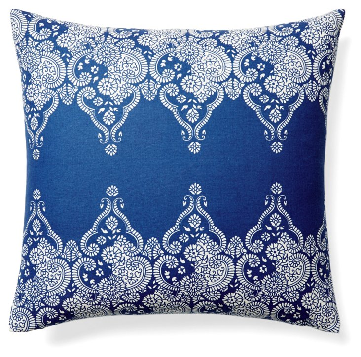 Monterey 20x20 Cotton Pillow, Blue