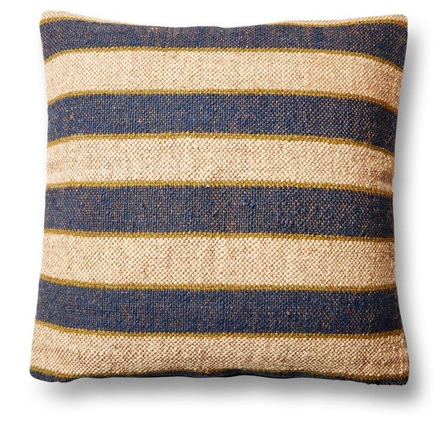 Stripe 20x20 Wool-Blend Pillow, Navy