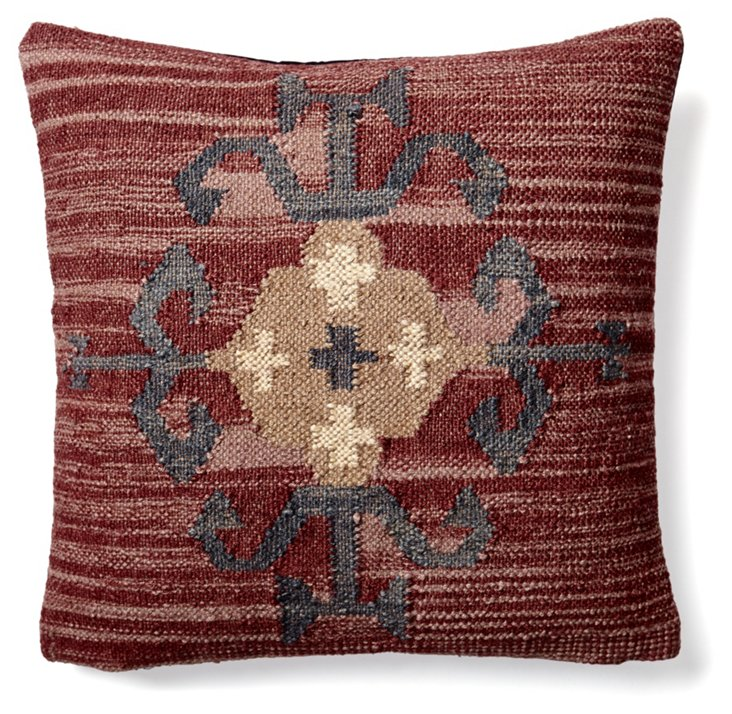 Kilim 20x20 Wool-Blend  Pillow, Maroon