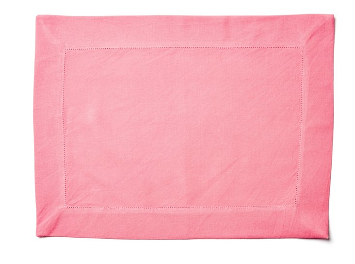 S/4 Hemstitch Place Mats, Coral