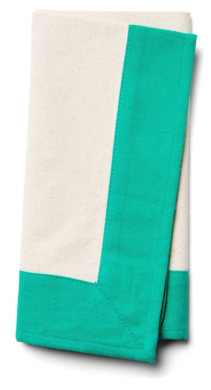S/4 Border Napkins, Flax/Emerald