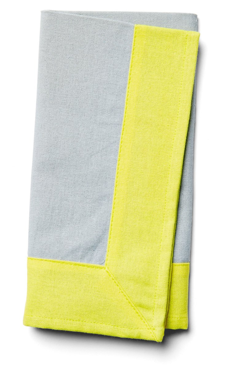 S/4 Wide-Border Napkins, Gray/Yellow