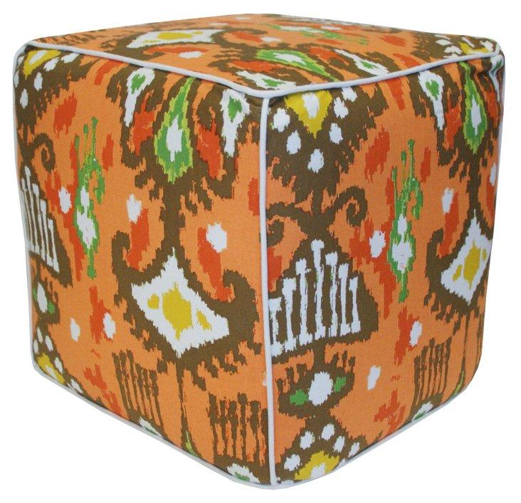 Dijon Ikat Pouf, Orange/Multi