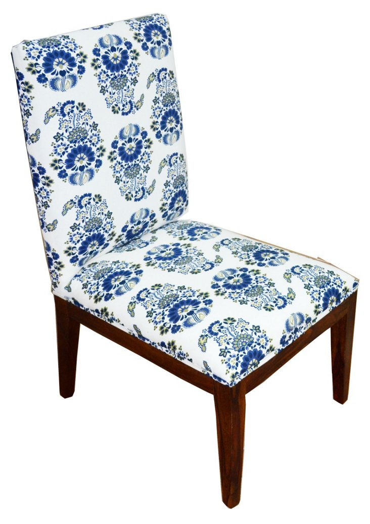 Beatrice Paisley Chair, Navy/White