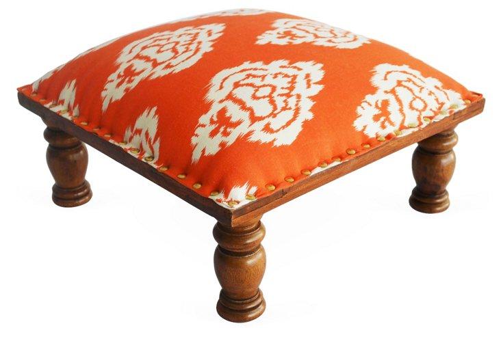 Rosey Ikat Footstool, Tangerine/White