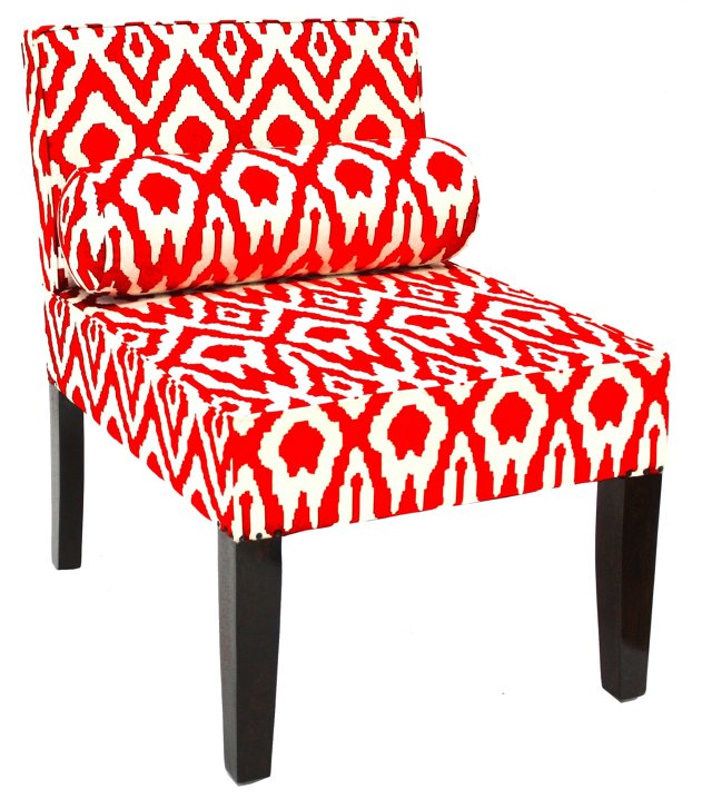 Isabelle Ikat Accent Chair, Tangerine