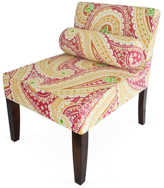 Isabelle Armless Chair, Yellow Paisley