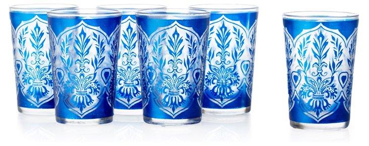 S/6 Moroccan Tea Glasses, Royal Blue
