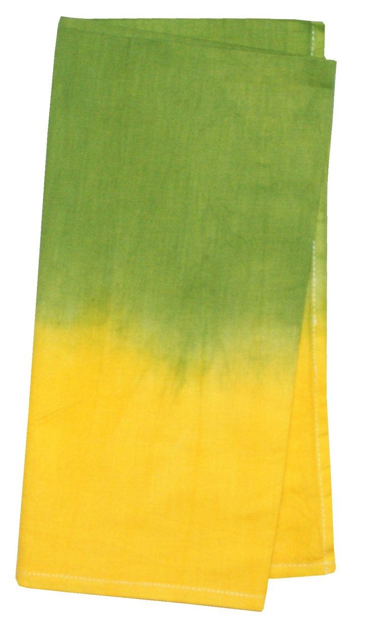 S/4 Tie-Dye Napkins, Yellow/Lime