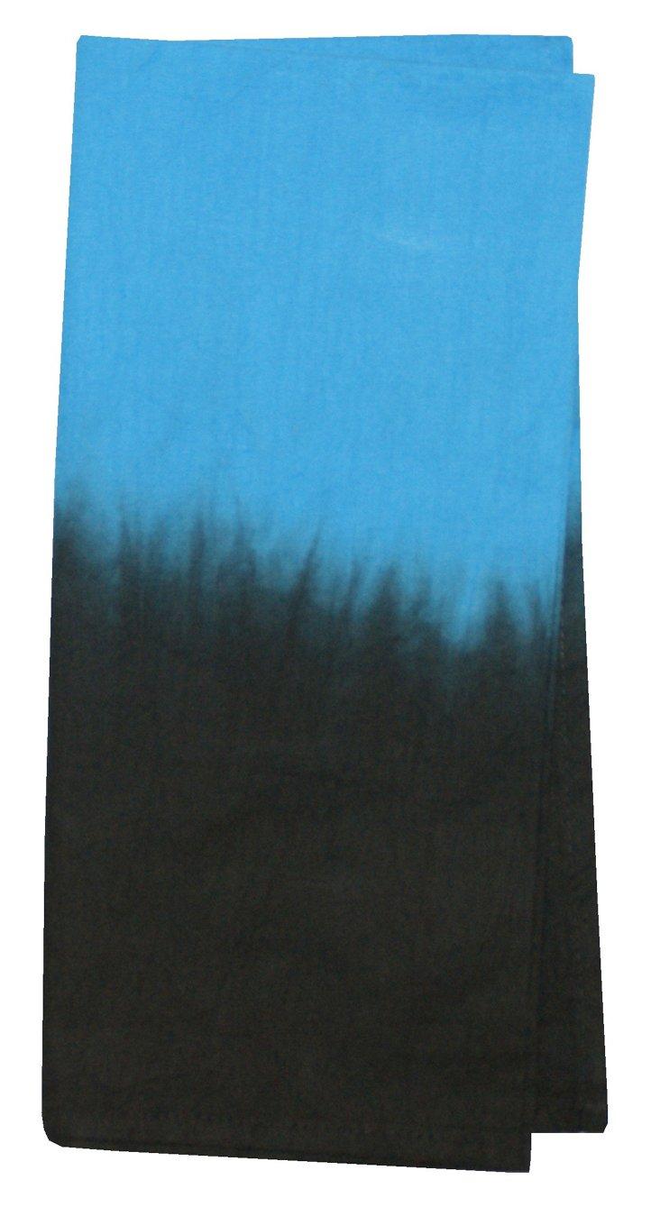 S/4 Tie-Dye Napkins, Blue/Black