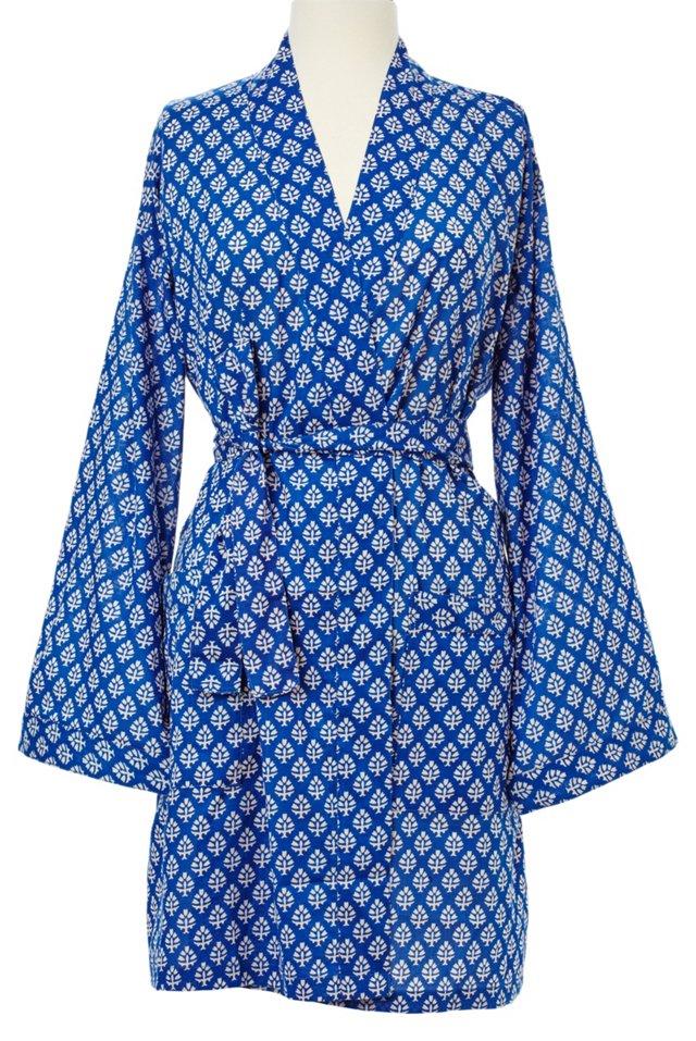 Printed Kimono Robe, Blue