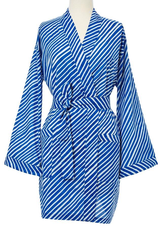 Island Striped Kimono Robe, Blue