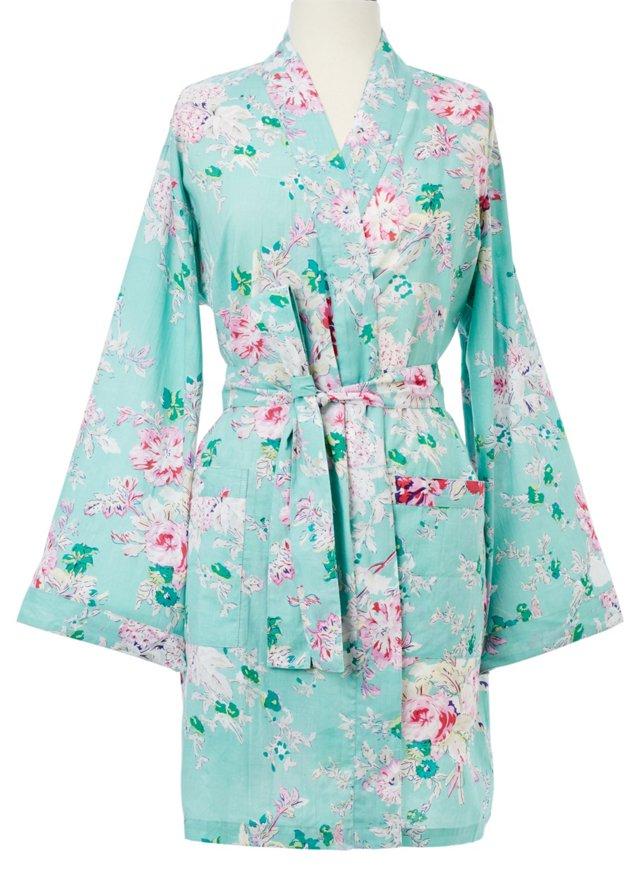 Floral Kimono Robe, Mint Green