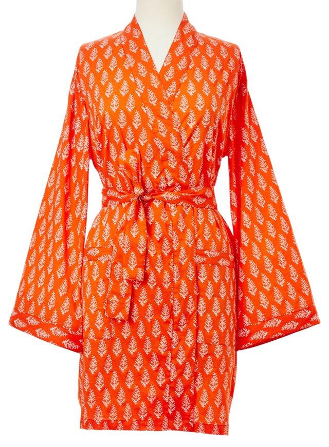 Printed Kimono Robe, Tangerine