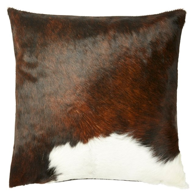Dexter 18x18 Hide Pillow, Brown/White
