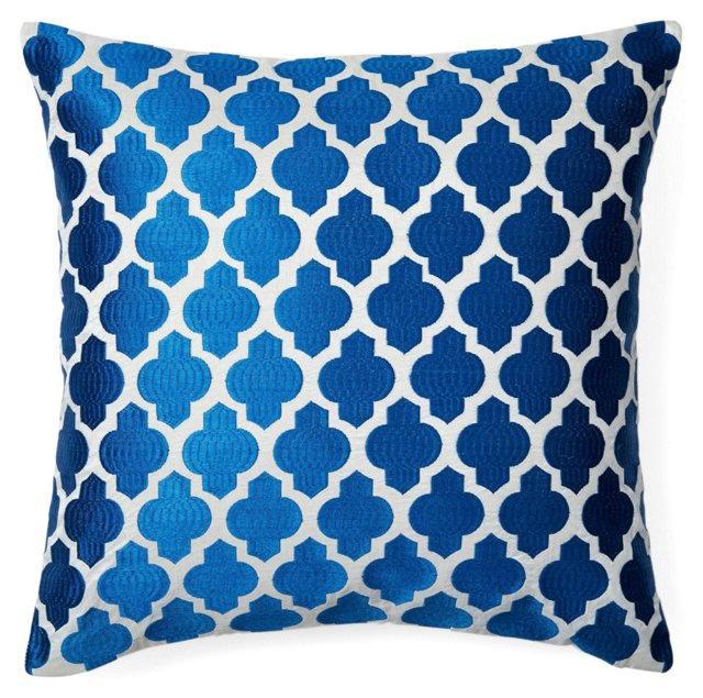 Moroccan 20x20 Embroidered Pillow, Blue