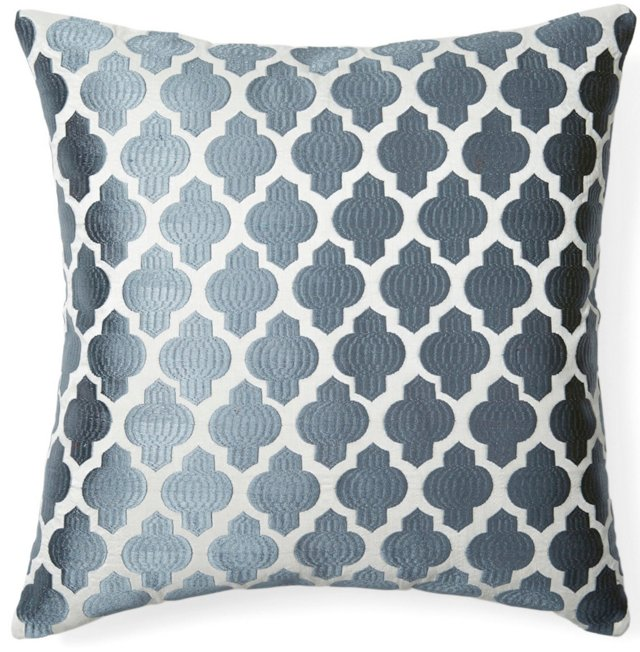Moroccan 20x20 Embroidered Pillow, Gray