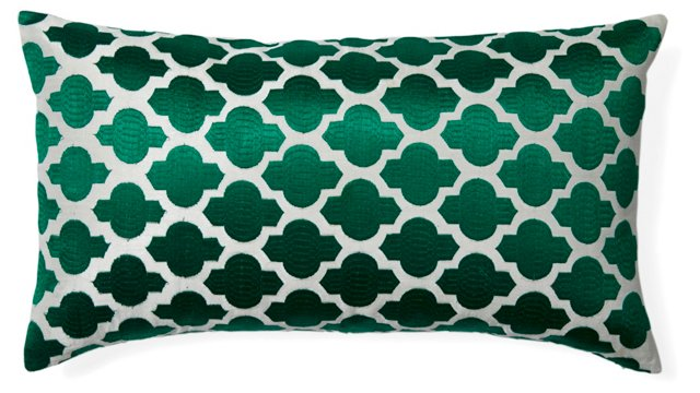 Moroccan 14x24 Embroidered Pillow, Green