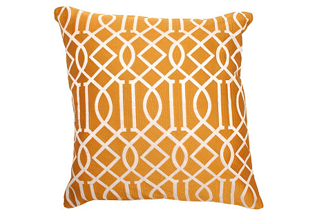 Bold 20x20 Embroidered Pillow, Orange