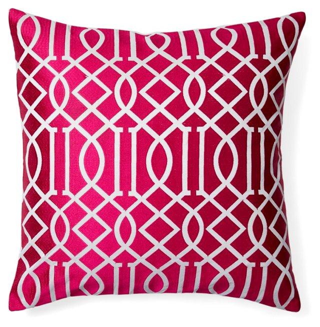Jax 20x20 Embroidered Pillow, Magenta