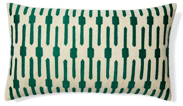 Jai 14x24 Embroidered Pillow, Green