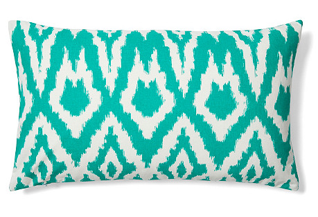 Ikat 14x24 Cotton Pillow, Emerald Green